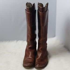 FRYE Boots Paige Tall Riding Brown Leather